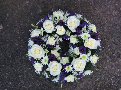 Royal blue and white wreath