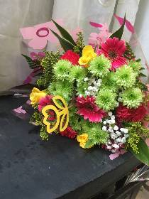 Multi coloured flat bouquet